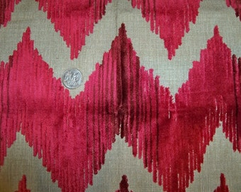 LEE JOFA KRAVET Cut Velvet Chevron Flame Stitch Zig Zag Fabric 10 yards