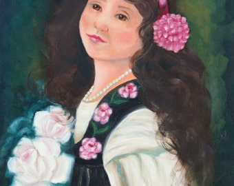 Girl with Flowers and Pearls