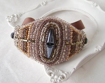 "Bracelet ""coffee."" Luxury Handmade Jewelry. Bracelet of Czech and Japanese beads. Brown."