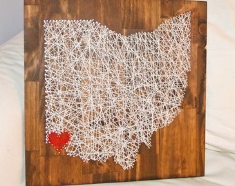 Ohio String Art, Ohio State, Hometown String Art, Any State String Art, Ohio Pride, Made to Order