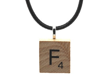 Wooden Scrabble Letter Necklace + black leather cord. Letter F . SKU006118