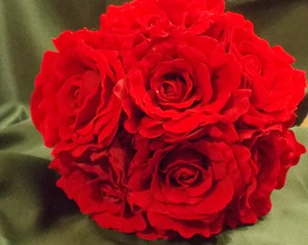 Wedding bouquet silk flowers red roses real look