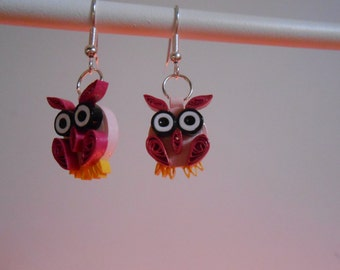 Paper quilling owls earrings