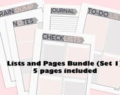 A4 & Letter Lists and Pages Bundle Set 1 Printable  (Audrey Collection) - 5 pages included
