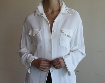 Vintage ROMAZZINO white viscose shirt, White secretary blouse, made in Paris, size M-L