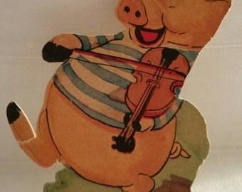 Vintage Dancing Pig Valentine Card