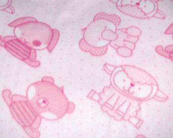 Baby Pink Animal Fleece Blanket - No Sew Tie Quilt
