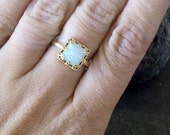 SALE!Lace Square ring, White opal ring, Gold opal ring, Gemstone ring, Opal ring, October birthstone ring, Vintage ring,