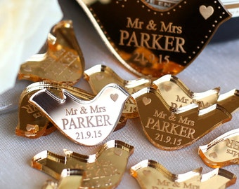 Wedding Table Decorations Personalised Mr & Mrs Love Heart Doves Wedding Table Favours