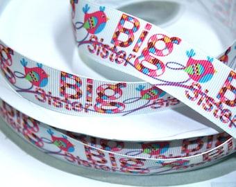 1 inch Big Sister - Birdie Design -  Printed Grosgrain Ribbon for Hair Bow