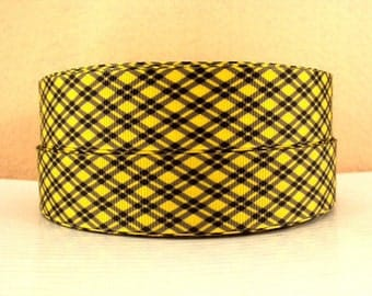 1 inch Black Plaid on Bright Yellow - Printed Grosgrain Ribbon for Hair Bow