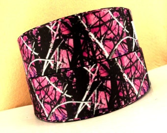 1.5 inch Pink BRANCH CAMOUFLAGE on Black ( THICK ) - Printed Grosgrain Ribbon for Hair Bow 1 1/2