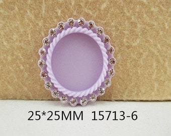 1 Piece - Rhinestone Resin Cameo - Lavender Light Purple - Center is 1 inch circle 15713-6 Cap Cameo - Center is 1 inch