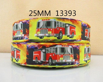 1 inch - Fire Truck (NEW) - Firefighter - Fireman - 13393 Printed Grosgrain Ribbon for Hair Bow