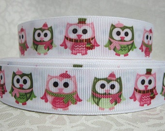 7/8 inch Pink Christmas OWLS - OWL - Printed Grosgrain Ribbon for Hair Bow