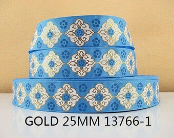 1 inch LIGHT BLUE White and Gold Design STYLE 13766-1 - Printed Grosgrain Ribbon for Hair Bow