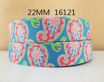 7/8 inch - BEAUTIFUL Large Paisley on Teal P123 - Printed Grosgrain Ribbon for Hair Bow