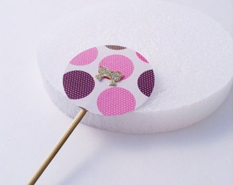 12 Pink & Purple Polka Dots, Cupcake Toppers. Weddings, bridal or baby showers, birthdays. Card Stock.