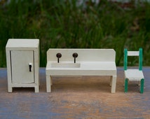Wooden Farmhouse Sink, Refrigerator or Cupboard, and Chair - Vintage Dollhouse Furniture