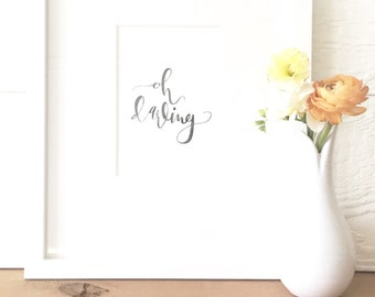 Oh Darling Watercolor Calligraphy - Watercolor Calligraphy - Calligraphy - Typography - Oh Darling - Baby Room - Baby - Hand-Lettering