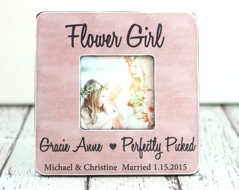 Flower Girl Gift Personalized Picture Frame Rustic Thank You Country Wedding Party Thank You Gift