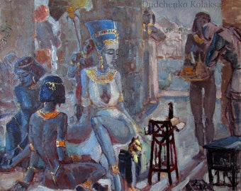 Nefertiti. Oil Painting Egypt.