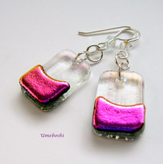Fuchsia Sugar Plum Earrings - Dichroic Handmade Glass Jewelry with Swarovski Crystal