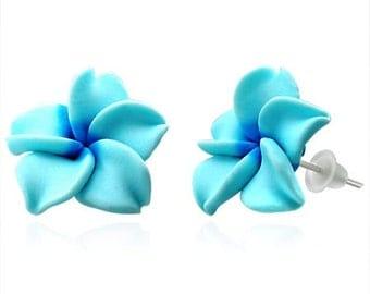 15mm Handmade Hawaiian Fimo Polymer Clay Blue Flower Post Stud Earrings (F63)