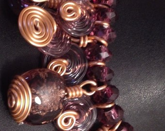 Fancy Amethyst Glass Beads and Swirls Necklace