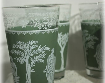 Set of 4 Wedgwood Style Green Tumblers, Jeannette Glass, Hellenic,  Large Water Glass, Beer Glass