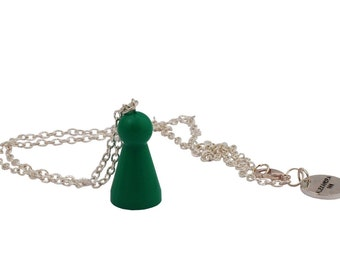 Ludo green necklace of recycled board game, pendant necklace, short necklace, green jewelry- short chain necklace
