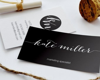 Business Card  - Black | The KATE | Digital Business Card | Branding | Calling Card | Modern