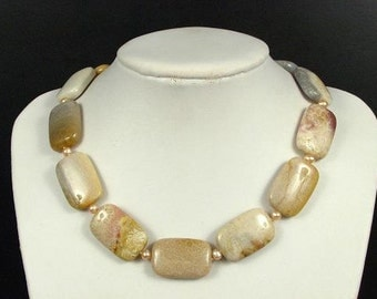 Necklace Fossil Coral 30mm Flat Rectangles 925 NSFC2558