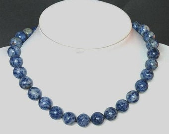 Necklace Sodalite 12mm Round Beads NSSD4059