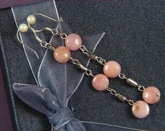 """Earrings 3X Pink Opal 8mm Round Discs 925 2.75"""" ESOP1503"""