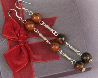 Earrings 3X Mahogany Obsidian 10mm Round Beads 925 ESOM1735