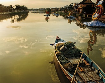 Landscape Fine Art Print,Vietnam, Hoi An river scene at sunset