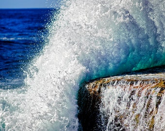 Landscape Fine Art Print, crashing waves at Clovelly Beach, Sydney, Australia