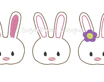 Bunny Face Felties Embroidery Design. Easter Embellishments Machine Embroidery Design. 4x4 Hoop