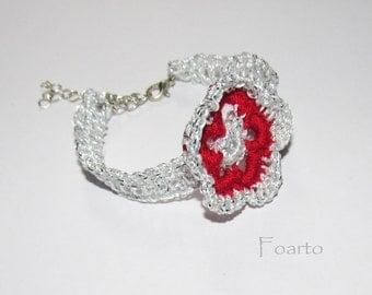 Flower Bracelet spring bracelet spring jewelry silver color crochet bracelet beautiful adjustable bracelet for women gift under 25 (CB-7)