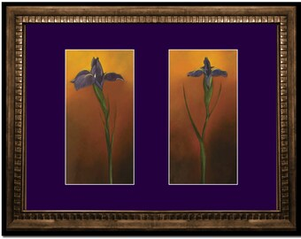 Purple Iris framed framed and matted titled Who says flowers don't praise?