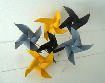 6 pics windmills (black, gray, yellow) party table decoration, candy bar, wedding, baptism, birthday, baby shower, sweet table