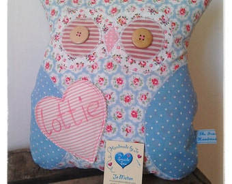 Handmade Softie Owl Cushion Personalised Pink Blue