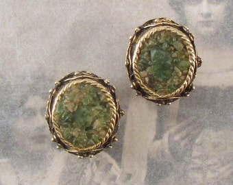 Vintage Green and Gold Tone Clip On Earrings