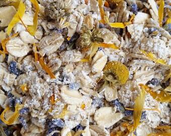 Lavender, Calendula, Chamomile & Chickweed Oatmeal Bath Tea | 3 Organic Herbal Bath Tea Bags | Oatmeal Soak | Party Favor | Baby Shower