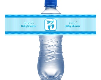 Water Bottle Labels Baby Shower- It's a Boy, Baby Foot Prints Personalize Labels Printed