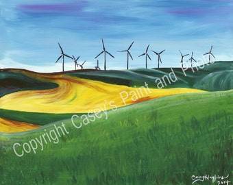 Washington Palouse Windmill Painting