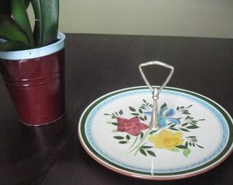 Vintage Stengl Flower Plate with metal handle