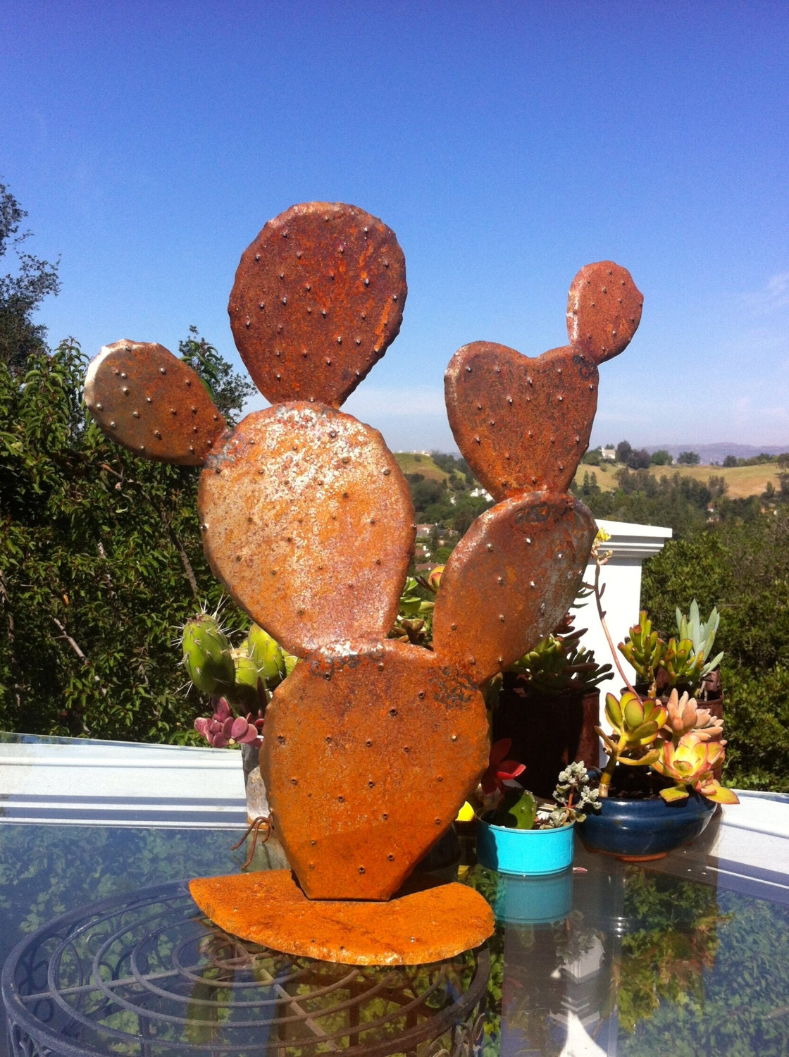 Nopal steel cactus garden art metal sculpturesmetal garden for Plaque metal decorative pour jardin
