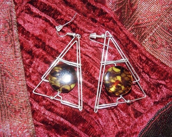 Handmade Italian Colored Mother of Pearl Wire Earrings